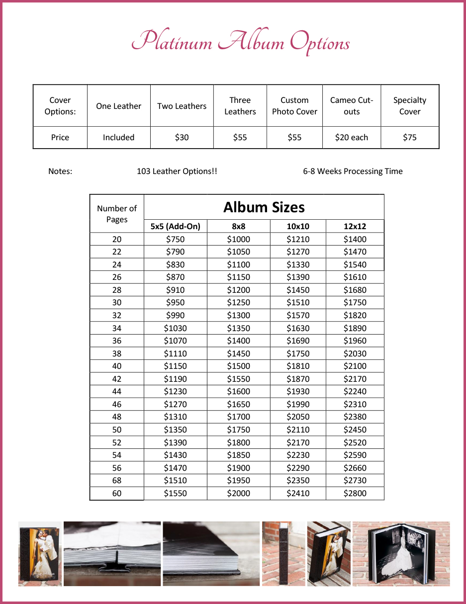 Album Order Form Anya Albonetti Photography – Photography Order Form