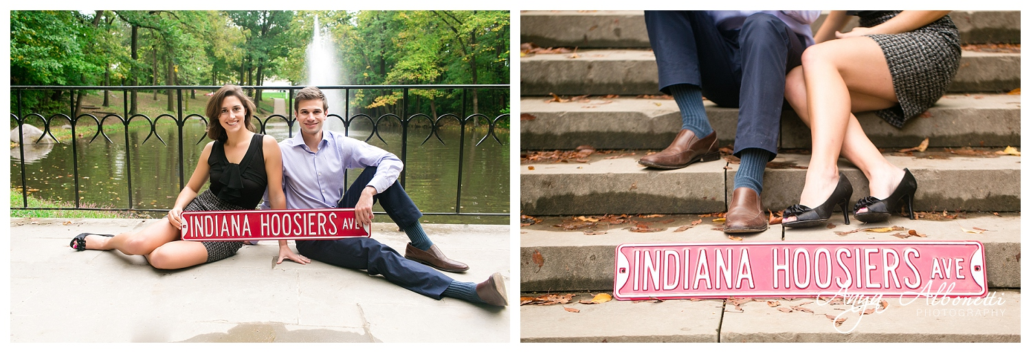 Indianapolis Engagement Photography | Indiana Hoosiers Sign